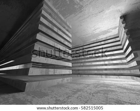 Dark concrete empty room. Modern architecture design. Urban textured background. 3d render illustration #582515005