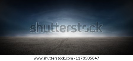 Dark Concrete Runway Street Floor with Night Sky Horizon #1178505847