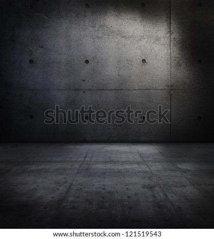 Dark concrete wall and floor.