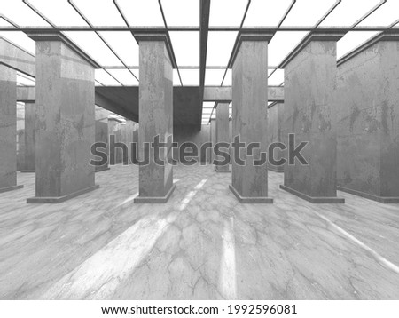 Dark Concrete Wall Architecture. Empty Room. 3d Render Illustration