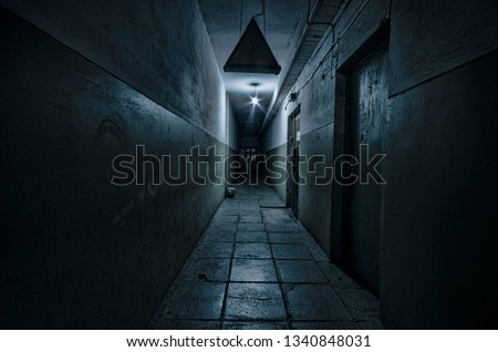 Photo of  Dark corridor. Mystical interior of dark empty corridor, tunnel in an abandoned house. Dark mysterious corridor. The interior of an abandoned house, road to hell. An old abandoned building
