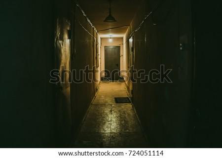 Dark corridor with doors, perspective #724051114