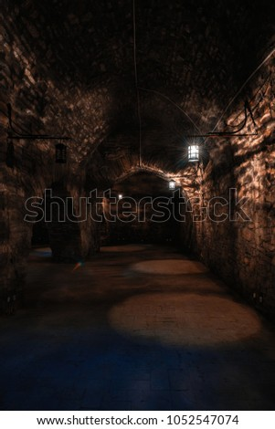 Dark corridors of old time castle dungeon light with few lamps #1052547074
