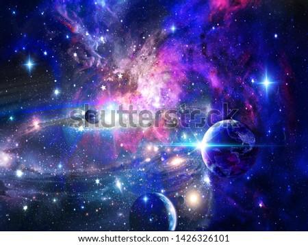 Dark cosmic background, universe, bright stars, three large blue planets