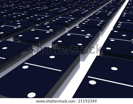 Dark dominoes laid flat on a reflective floor.