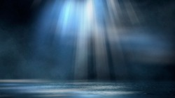 Dark dramatic abstract scene background. Neon glow reflected on the pavement. Smoke, smog and fog. Dark street, wet asphalt, reflections of rays in the water. Abstract dark blue background.