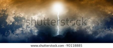 Dark dramatic sky with lightning #90118885