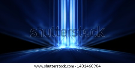 Dark empty abstract scene, rays of searchlights, neon blue light, highlights and lights. Night view of the scene, a tunnel with illumination. Dark background with spotlights.