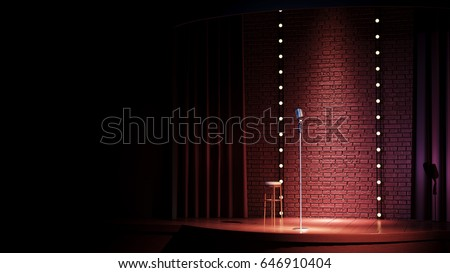 Dark empty comedy club stage  and vintage microphone. 3d render
