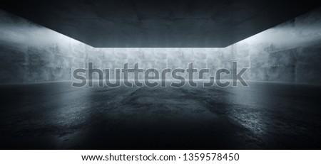 Dark Empty Concrete Cement Grunge Reflective Garage Underground Tunnel Corridor Hall  Glowing White Blue Lights Daylight Rough Texture Stage Parking 3D Rendering Illustration