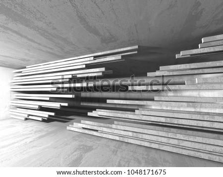 Dark empty room. Concrete rusty walls. Architecture grunge background. 3d render illustration #1048171675