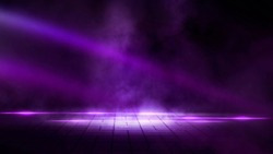 Dark empty stage, street, night smog and smoke, neon light. Dark background of the city. Concrete floor, dark wall. Pink and purple neon. Light spotlights.