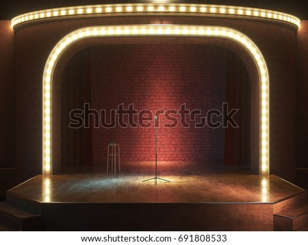 Dark empty stage with microphone. 3d render