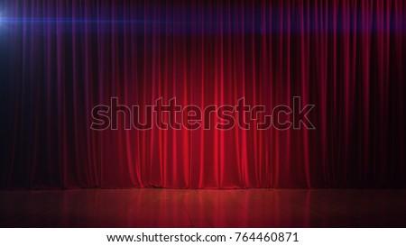 Dark empty stage with rich red curtain. 3d render