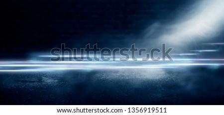 Dark empty street, night view, brick wall, night smog, fog and smoke. #1356919511