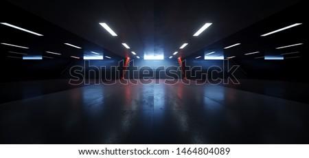 Dark Empty Underground Tunnel Corridor Stairs Signs Lights White Blue Orange Empty Reflective Grunge Concrete Modern 3D Rendering Illustration