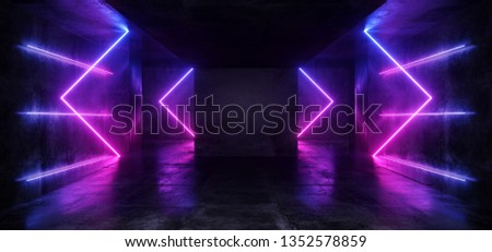 Dark Empty Virtual Vibrant Fluorescent Neon Glowing Purple Blue Arrow Shaped Laser Lights  Reflection Grunge Concrete Room Rough Texture 3D Rendering Illustration