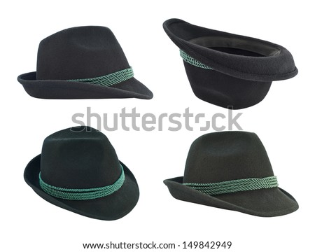 Dark fedora like hat with a green tape isolated over white background, set of four foreshortenings