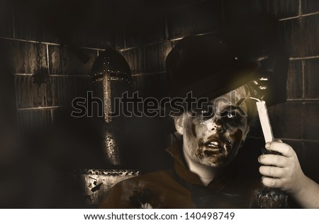 Dark fine art portrait of a zombie searching for lost souls and trapped spirits during a chilling ghost tour through a haunted castle. Death becomes you