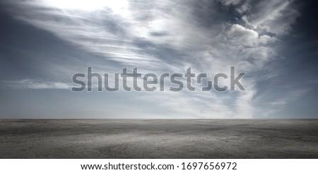 Dark Floor Background with Dramatic Sky and Scenic Clouds Panoramic Horizon Scene