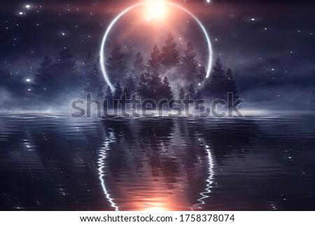 Dark forest. Gloomy dark scene with trees, big moon, moonlight. Smoke, shadow. Abstract dark, cold street background. Night view. 3D illustration