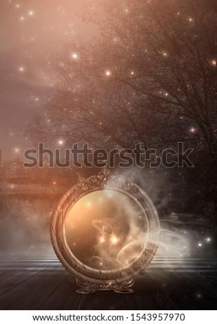 Dark forest, magic mirror. Night view, smoke, smog, neon light, moon. Dark fantasy mystical landscape.