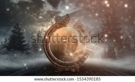 Dark forest, magic mirror. Night view, smoke, smog, neon light, moon. Dark fantasy mystical landscape. 3D illustration.