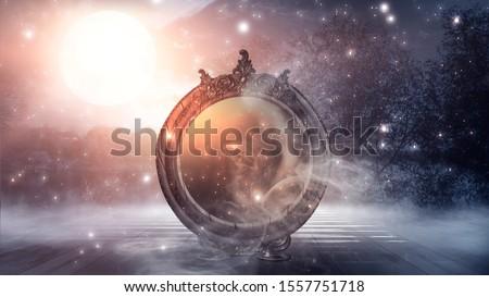 Dark forest, magic mirror. Night view, smoke, smog, neon light, moon. Dark fantasy mystical landscape. 3D illustration. Photo stock ©