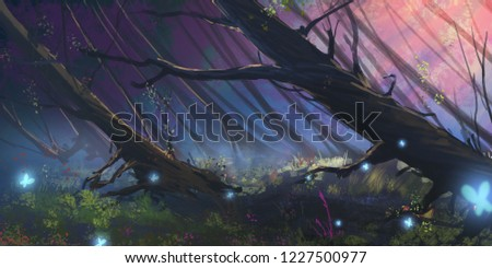 Dark Forest. Realistic Style. Video Game Digital CG Artwork, Concept Illustration, Realistic Cartoon Style Scene Design