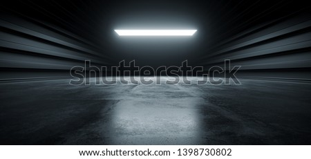 Dark Futuristic Modern Garage Showroom Tunnel Corridor Concrete Metal Grunge Reflective Glossy Empty Space White Glow Showcase Stage Underground Hallway Entrance 3D Rendering Illustration