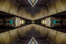 Dark futuristic sci-fi spaceship interior - simple clean concrete structure safe basement.