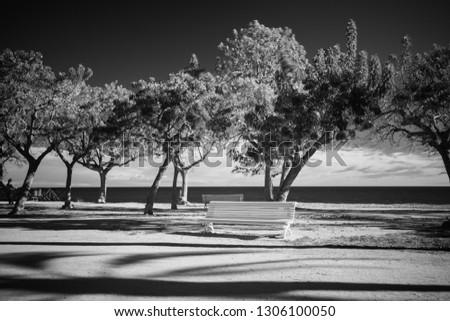 dark gloomy desktop screensaver black and white infrared photography sea beach