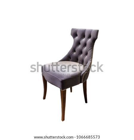 dark gray fabric chair in chester style for elite loft interior isolated white background #1066685573
