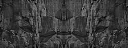 Dark gray grunge background. Black and white stone background. Grunge banner with rock texture. Fantasy stone wall or castle gate. The world of science fiction. Gothic style.
