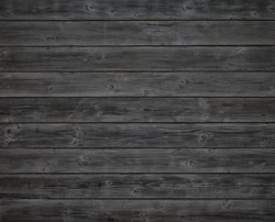 Dark Gray or Off Black Rustic Painted Wood Boards.  Color photo. A Halloween design element.  Horizontal