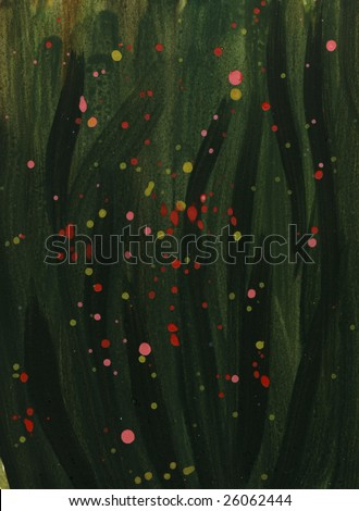 dark green abstract watercolor background with red, yellow and pink splashed splashed, hand painted (self made)