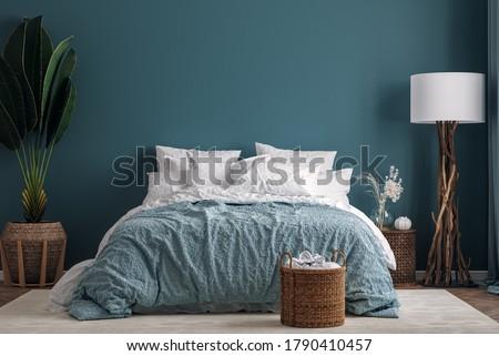 Dark green bedroom interior background, 3d render