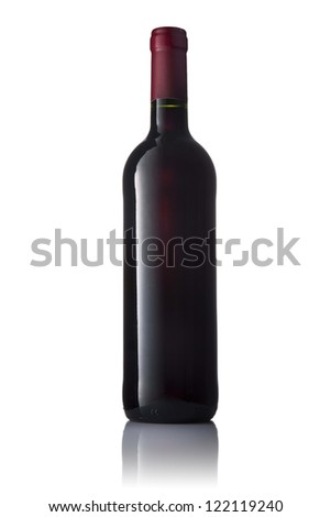 Dark green glass bottle with red wine isolated on a white background.