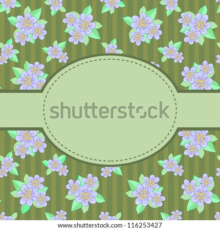 Dark green striped background with blue flowers and oval label