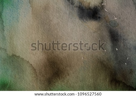 dark green watercolor on textured paper background earthy colors - painting design