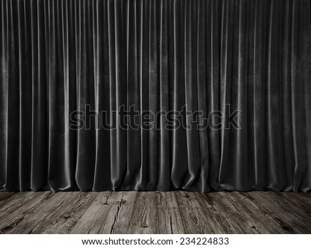Dark grey curtains and grunge floor