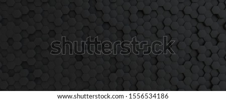 Dark grey hexagonal tech background texture, black, 3d illustration rendering
