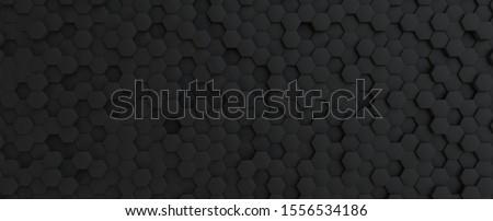 Dark grey hexagonal tech background texture, black, 3d illustration rendering