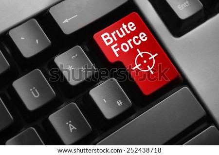 dark grey keyboard red button brute force