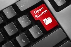dark grey keyboard red button open source