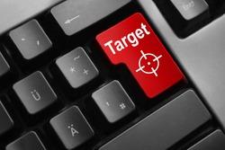 dark grey keyboard red enter button target crosshair