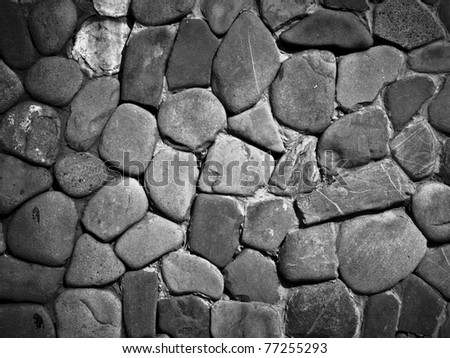 Dark grey medieval stone wall background or texture