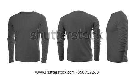 Dark grey men's T-shirt with long sleeves with rear and side views on a white background