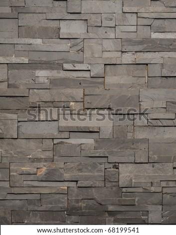 Dark Grey Stone Tile Texture Brick Wall Surfaced Stock