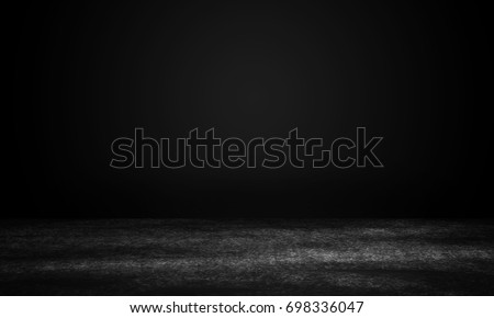 Dark grunge black floor with Copy space for text.